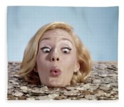 1960s Blond Woman Funny Facial Fleece Blanket