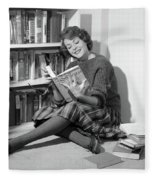 1960s Smiling Young Woman Teen Sitting Fleece Blanket