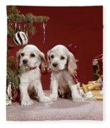 1960s Two Cocker Spaniel Puppies Fleece Blanket