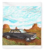 1961 Chevrolet Biscayne 409 In Monument Valley Fleece Blanket