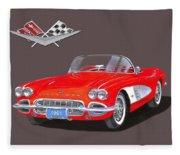 1961 Corvette Convertible Fleece Blanket