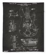 1961 Fender Guitar Patent Artwork - Gray Fleece Blanket