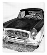 1961 Nash Metro In Black White Fleece Blanket