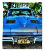1963 Blue Corvette Stingray-front View Fleece Blanket