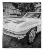 1963 Chevy Corvette Coupe Painted Bw    Fleece Blanket