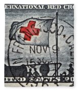 1963 Red Cross Stamp - San Francisco Postmark Fleece Blanket