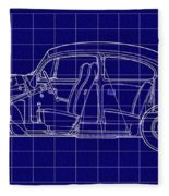 1963 Volkswagon Beetle Blueprint Fleece Blanket