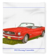 1965 Ford Mustang Convertible Pony Car Fleece Blanket