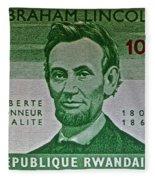 1965 Rwanda Abraham Lincoln Stamp Fleece Blanket
