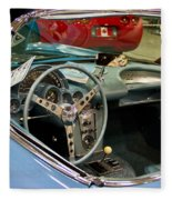 1967 Blue Corvette-interior And Wheel Fleece Blanket