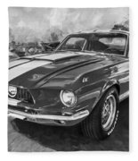 1967 Ford Shelby Mustang Gt500 Painted Bw Fleece Blanket