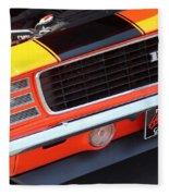 1969 Chevrolet Camaro Rs - Orange - Front End 7550 Fleece Blanket