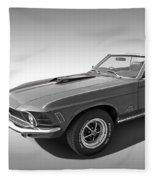 1970 Mach 1 Mustang 351 Cleveland In Black And White Fleece Blanket