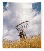 1970s Man Farmer Field Hand Wearing Fleece Blanket