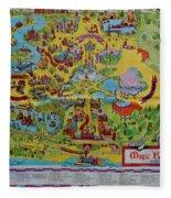 1971 Original Map Of The Magic Kingdom Fleece Blanket