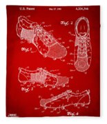 1980 Soccer Shoes Patent Artwork - Red Fleece Blanket