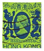 1985 Hong Kong Queen Elizabeth II Stamp Fleece Blanket