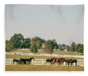 1990s Small Group Of Horses Fleece Blanket