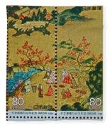 1994 Japanese Stamp Collage Fleece Blanket