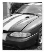 1996 Mustang Cobra In Black And White Fleece Blanket
