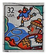 1996 Winter Skaters Stamp Fleece Blanket