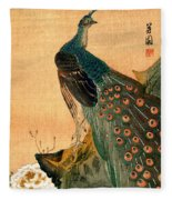 19th C. Japanese Peacock Fleece Blanket