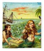 19th C. Mermaids At Ship Wreck Fleece Blanket