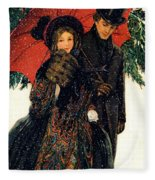 19th C. Young Couple In Winter Fleece Blanket