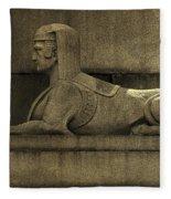 19th Century Granite Stone Sphinx Sepia Profile Poster Look Usa Fleece Blanket