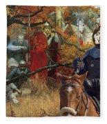 Alaskan Malamute Art Canvas Print Fleece Blanket