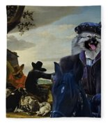 Keeshond Art Canvas Print Fleece Blanket