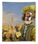 Tibetan Spaniel Art Canvas Print Fleece Blanket