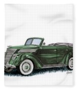 1937 Ford 4 Door Convertible Fleece Blanket