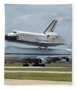 747 Carrying Space Shuttle Fleece Blanket