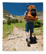 A Backpacker Hiking Fleece Blanket