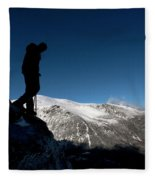 A Man Hikes The Boott Spur Link Fleece Blanket