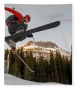 A Man Jumping On His Skis, San Juan Fleece Blanket