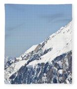 A Man Skis Untracked Powder Off-piste Fleece Blanket