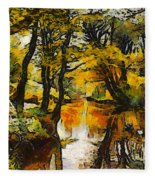 A River Landscape In Springtime Fleece Blanket