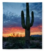 A Saguaro Sunset  Fleece Blanket