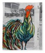 A Well Read Rooster Fleece Blanket