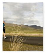 A Woman Out For A Jog In The Country Fleece Blanket