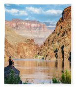 A Woman Sits By The Colorado River Fleece Blanket
