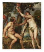 Adam And Eve Fleece Blanket