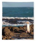 Adult Nz Yellow-eyed Penguin Or Hoiho On Shore Fleece Blanket