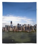 2-aerial View Of Manhattan Fleece Blanket