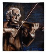 Albert Einstein And Violin Fleece Blanket