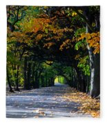 Alley With Falling Leaves In Fall Park Fleece Blanket