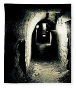 Altered Image Of A Tunnel In The Catacombs Of Paris France Fleece Blanket