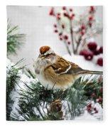 Christmas Sparrow Fleece Blanket